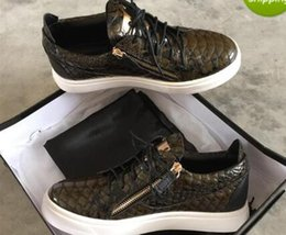Wholesale Snake Skin Men Shoes - 2017 New leisure women and men zanottys brownness snake skin grain low top casual shoes discount mens plus size 36-47 with box & dust bag