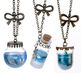Wholesale Lucky Brand Necklaces - Wholesale-Brand Design Natural Literary Style Ocean Wind Drift Bottles Lucky Pendant Necklace Lucky Wish Locket Jewelry For Women & Friend