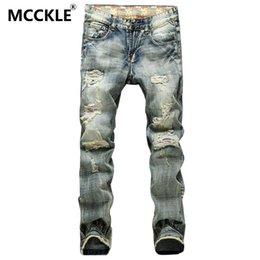 Wholesale Vintage Jeans Men - Wholesale-Vintage Mens Ripped Jeans Pants Slim Fit Distressed Denim Joggers For Male Brand Designer Destroyed Jean Trousers Plus Size 42
