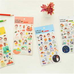 Wholesale Girls Sticker Album - 48 pcs Lot Kawaii girl Cheer up stickers PVC decorative sticker for album notebook 2016 New Stationery School supplies 6368