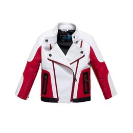 Wholesale Kids Leather Jacket 3t - fashion boy causal jacket coat novelty leather PU jacket coat for 1-12yrs boys students kids children outerwear leather clothing