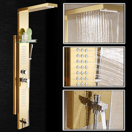 Wholesale Jet Massage Showers - In Wall Bathroom Shower Faucet Set Jets Panels 304 Stainless steel 10 Inch Shower Panel Rainfall Massage System Faucet with Jet Hand Shower