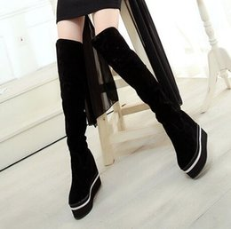 Wholesale Tall Suede Wedge Boots - New Arrival Hot Sale Specials Influx Sweet Girl Sexy Suede Female Tall Canister Knight Cotton Platform Warm Wedge Knee Boots EU30-47