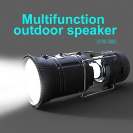 Wholesale Center Function - outdoor portable bluetooth speakers FM function 2200mAh power bank solar chargers Multifunction camping lamps with vibration membrane