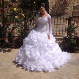 турецкие длинные платья Скидка Vestido De Noiva Бальное платье с длинными рукавами из органзы Свадебные платья Турция 2016 Аппликации Pleat Хрустальные свадебные платья Robe de Mariage