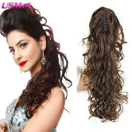 Wholesale Multi Color Hair Extensions - Wholesale- Multi- color Hair Extensions Ponytails Long Wavy Blonde Brown Fashion New Fake Hair Clip Coleta Postizos Haar Stukjes Met Claw