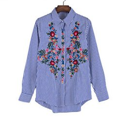 Wholesale Lady Flower Blouse - Women Floral Embroidery Blouse Shirt Women Blue Striped Work Shirts 2017 Summer Vintage Ethnic lady flowers Casual Tops Shirt T2484