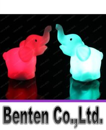 Wholesale Lead Elephant Toy - Free shipping Small Night Light Colorful Changing Elephants Small Night Lamp LED Night Light LED Toys LLFA