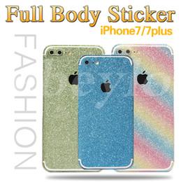 Wholesale Iphone Glitter Sticker Skins - Apple cut full body glitter sticker diamond bling sticky cover slim film skin protectors for iphone 7 6 plus samsung s7 s6