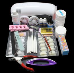 Wholesale Glue Kit Uv - Tools Sets Kits EM-71 Free Shipping Pro Nail Art UV Gel Kits Tool UV lamp Brush Remover tips glue