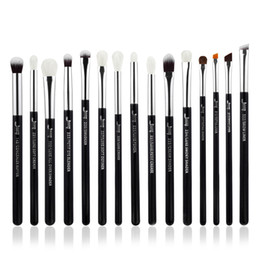 makeup black hair Promo Codes - Jessup Brand Black Silver Professional Makeup Brushes Set Make Up Brush Tools Kit Eye Liner Shader Natural Synthetic Hair
