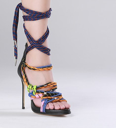 Wholesale Straw High Heeled Pumps - New Summer Colorful Woven Rope High-heeled Sandals Cool Cross-tied Ankle Strap Thin Heel Pumps Sweet Sexy Women Shoes