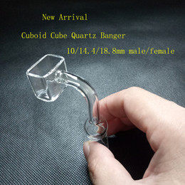 Wholesale Rectangle Cube - Exclusive Polished Joint cuboid Rectangle Quartz Sugar Cube Banger Nail Square Banger Nail Tip 10 14 19mm Female Male glass bong water pipe