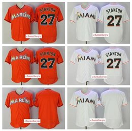 Wholesale Black Marlin - 2017 Men's Miami Marlins Jersey #27 Giancarlo Stanton Authentic White Orange Baseball Jerseys Stitched Logos Free Shipping