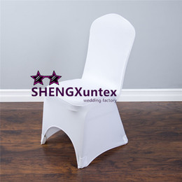 Wholesale Cheap White Wedding Chair Covers - White Color Cheap Strech Lycra Spandex Chair Cover With Strong Pocket For Wedding