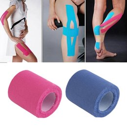 Wholesale Hot Bandage Wholesale - Wholesale- Hot Sale Cotton Waterproof Muscle Tape 5cm x 5m Sport Tape Kinesiology Tape Elastic Adhesive Bandage Care Physio Support