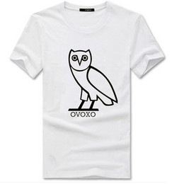 Wholesale Hot Men Candy Color Cotton Owl OVOXO Letters Print Skateboard T Shirts Man Cotton Short Sleeve T Shirt Tops Tee