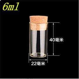 Wholesale Test Tubes Glass Stoppers - 22*40mm 6ml Empty Glass Transparent Clear Bottles With Cork Stopper Glass Vials Jars Packaging Bottles Test Tube 100pcs lot