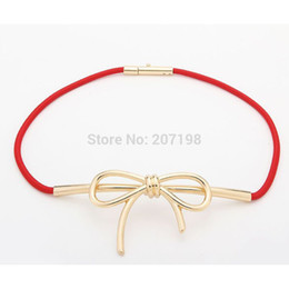 Wholesale Thin Gold Belts - 2015 New Brand Big Gold Metal Bow Knot Stretch Thin Belts for women 5 Color Luxury Ceinture Cinturones for Dress bg-046