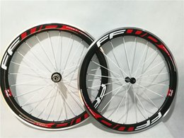 Wholesale Clincher Rims Alloy Braking Surface - 1pair New 700C 50mm clincher rim Road bike carbon bicycle wheelsets with alloy brake surface +hubs+aero spokes+skewers Free ship