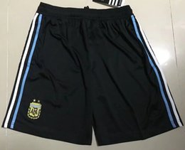 Wholesale men s home pants - 2018 world cup Argentina Soccer shorts 2018 Argentina Home Blue soccer shoats pants Messi Aguero Di Maria football uniform shorts