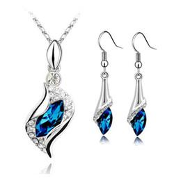 Kristall Halskette Ohrring Set Nickel Frei Blau Schmuck Sets Hochwertige Modeschmuck Sets Für Frauen 2017 von Fabrikanten