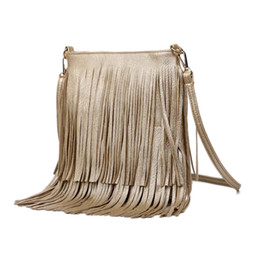 Wholesale Tassel Fringe Handbag - Wholesale-2016 Women Fashion Tassel Fringe Handbags Trend PU Leather Shoulder Bag Ladies Black Leather Crossbody Bags Bolsa Feminina A162