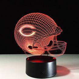 Wholesale Christmas C Led Lights - Touch LED Table Lamp Olives Ball cap C Helmet Children Bedroom 7 Colors 3D Night Light Valentines Day Birthday Gift