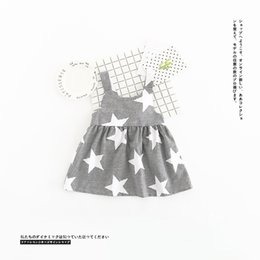 Wholesale Stars Suspender - CuteToddler Girls Ins Hot Sell Stripes Bow Summer Dress Print Stars Suspender Children Cotton Dress Cute Baby Dresses