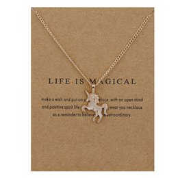 Wholesale Jewellery Necklace Cards - Unicorn Pendant Necklace Gold Silver With Gift Card Alloy Pendants Animal Necklaces for Women Fashion Jewellery