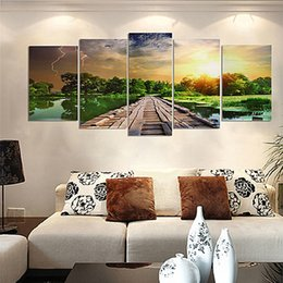 Wholesale Wall Art Wood Panels - 5pcs set Unframed Green Road Wood Landscape Oil Painting On Canvas Giclee Wall Art Painting Art Picture For Home Decor