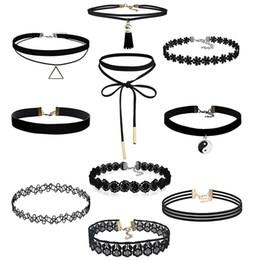 Wholesale Gothic Choker Necklace Set - 10 Pieces Choker Necklace Set Stretch Velvet Classic Gothic Tattoo Lace Choker