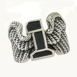 Wholesale Eagle Wing Stainless Steel Ring - STAINLESS STEEL punk vintage mens or womens JEWELRY angel or eagle WING NUMBER ONE BIKER RING GIFT FOR BROTHERS SISTERS 11W66