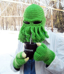 Wholesale Knitted Octopus Hat - Handmade wool knitting comfortable soft octopus hat with bearded brunette warm funny hat