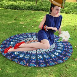 Wholesale Peacock Floral - Polyester Beach Towel Round Peacock Indian Tapestry Shawl Floral Printed Flower Shape Throw Hippie Gypsy Yoga Mat Blanket