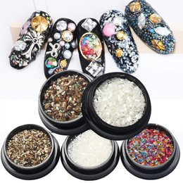Wholesale Nail Chips - New Nail Art Decorations 3d Shell Flakes Chips Natural Colorful Rhinestones Manicure Pedicure Accessories Diy Tips Beauty 2017