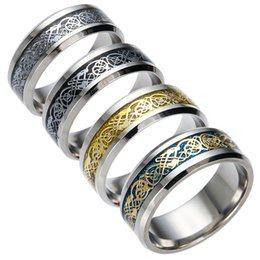 Wholesale African Animals Games - 8mm game Ring Silver color with Dragon pattern stainless steel lovers ring for wedding men ring Size 5-13