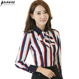 Wholesale Colthes Woman - Striped shirt long-sleeve autumn colthes women bow tie OL temperament chiffon shirt office ladies plus size work wear tops