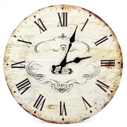 "Wholesale Wooden Crowns Wholesale - Wholesale-SWT 13"" Chic Vintage Retro Crown Pattern Wooden Wall Clock Art Home Dcor"