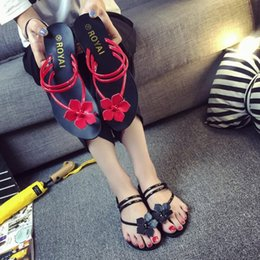 Wholesale Strap Home - 2017 New Style Summer Shoes Flats Slippers Fashion Flip Flops Women Sandals Solid Color Home Travel Casual Sandalias Mujer
