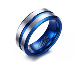 Wholesale Tungsten Carbide Celtic - Thin Blue Line Tungsten Ring Wedding Brands 8MM Tungsten Carbide Rings for Men Jewelry Wholesale Retail