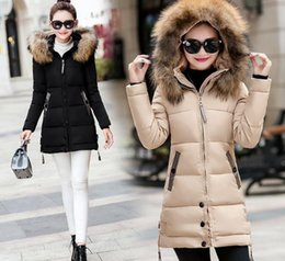 Wholesale Big Hat Factory - Retail NEWEST Factory Sale 5 colours Long Women Cotton Jacket With Big Fur Hat Girls Winter Coat With High Quality Freeshipping