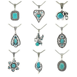 Wholesale Turquoise Necklaces Jewelry - Good A++ Fashion jewelry personalized turquoise handmade hollow petals bracelet long necklace WFN421 (with chain) mix order 20 pieces a lot