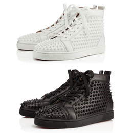 Wholesale Mens Sneakers Spikes - New Mens Designer Sneakers Flat Shoes Shiny Studded Spikes Red Bottom shoes Spikes Orlato Flat Casual Shoes with box