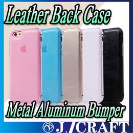 Métal Aluminium Bumper Etui En Cuir Véritable Couverture Arrière Pour iPhone5 / 5s / 5SE 6G 6P iphone 7 7Plus ? partir de fabricateur