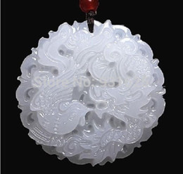 Wholesale Jade Dragon Pendant Jewelry - Wholesale- Beautiful Genuine Handmade Natural White Jade Carved Dragon Phoenix Pendant + Necklace Fashion Carving Pendants Jewelry