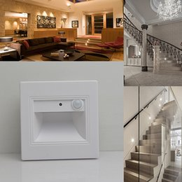 Wholesale Led Stair Lighting - Human Body & Light Sensor LED Wall Plinth Recessed Night Light Footlight 1.5W Stairs Led Down Lights Aisle Baby Room Toilet Modern Lamp