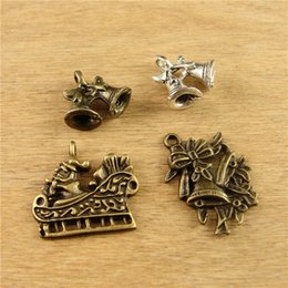 Wholesale Bronze Jingle Bells - Vintage tibetan silver holiday jingle bell charms for bracelet, DIY jewelry making accessories material antique bronze Christmas Pendant lot