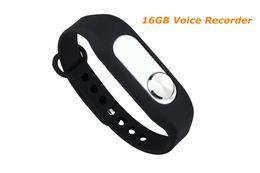 Wholesale 16gb Bracelet - Wholesale-2016 New 16GB bracelet recording pen digital voice recorder Wristband voice recorder 280hours recording WR-06