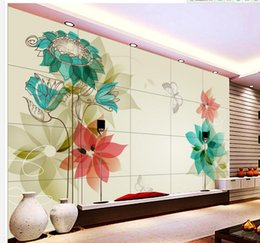 Wholesale Flower Wallpapers High Quality - High Quality Customize size Modern Popular Dream Lily Green White Flower Flower wallpaper for walls 3 d for living room